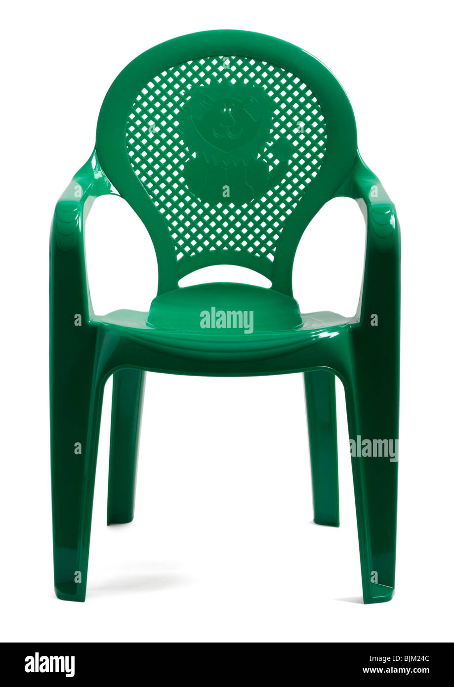 Childrens green plastic chair on white background - Stock Image