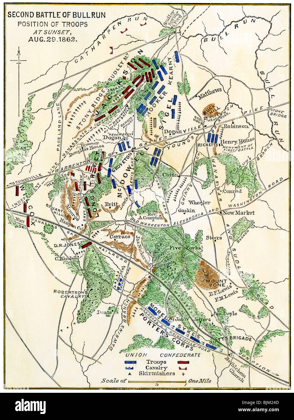 Bull Run battlefield map showing troop positions on August 29, 1862. Hand-colored woodcut - Stock Image