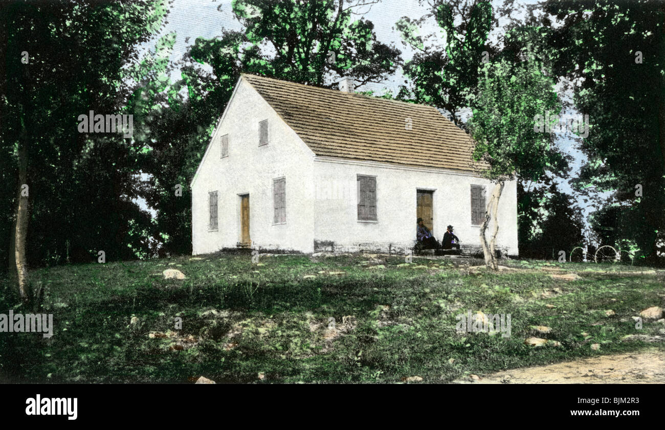 Old Dunker church on the Antietam battlefield. Hand-colored halftone of a photograph taken after the war - Stock Image