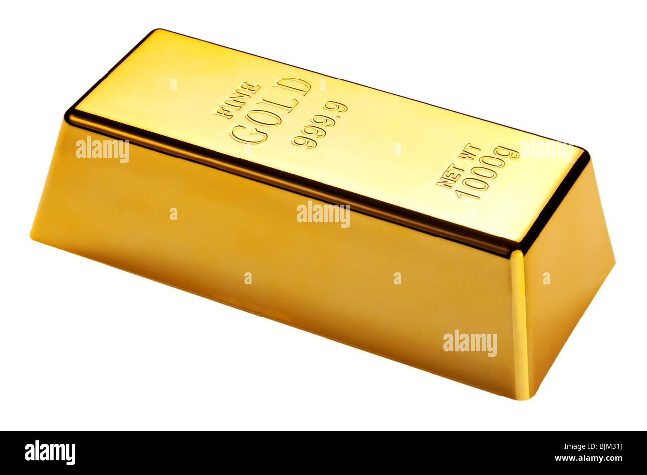 Photo of a 1kg gold bar isolated on a white background with clipping path - Stock Image