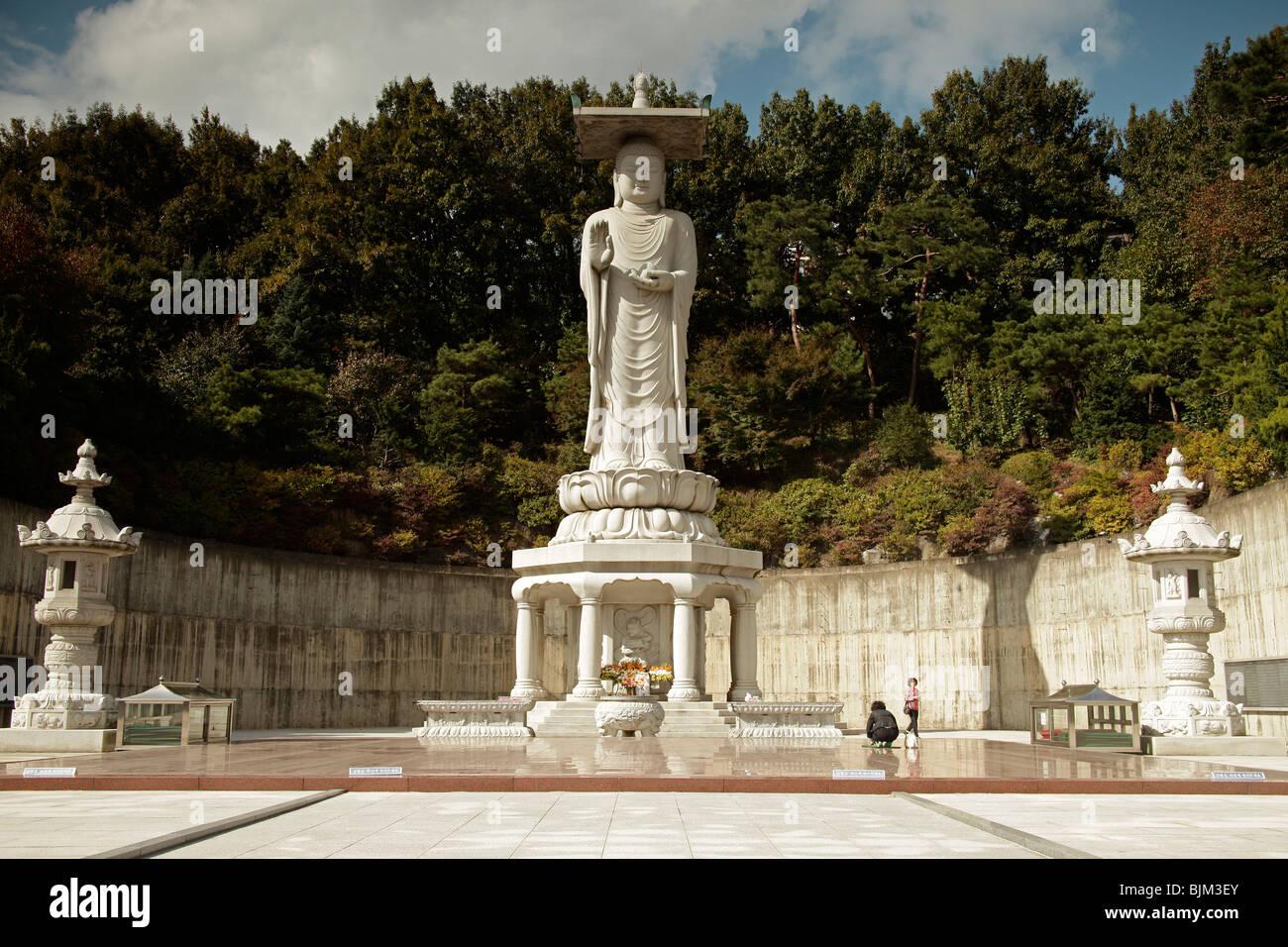 Buddha statue in Bongeunsa Temple, Seoul, South Korea, Asia - Stock Image