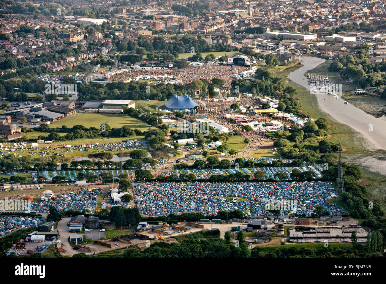 Aerial view of the Isle of Wight festival. Isle of Wight, England, UK Stock Photo