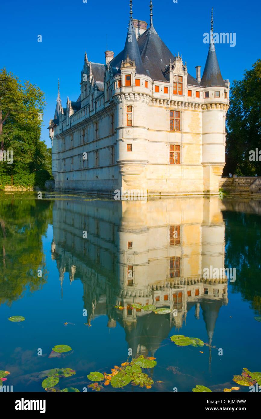 D'Azay-le-Rideau Castle, Loire Valley, France, Castle built in Middle Ages, Indre River Loire Valley, France, - Stock Image