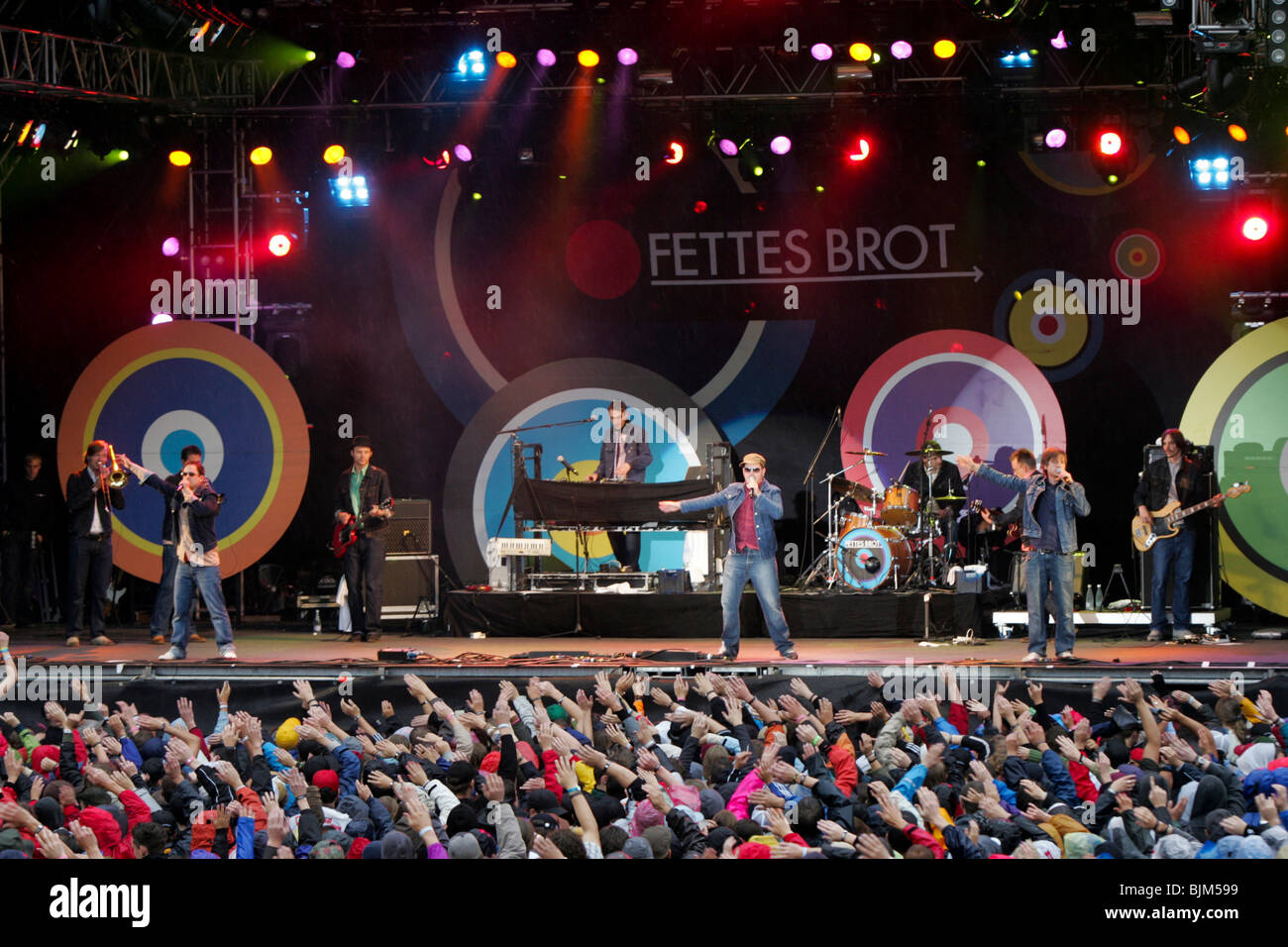The German hip hop band Fettes Brot live at the Heitere Open Air in Zofingen, Aargau, Switzerland Stock Photo