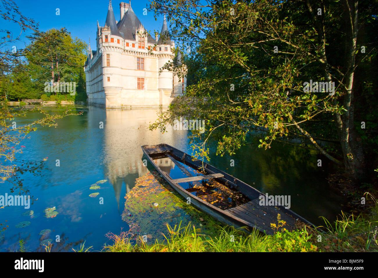 D'Azay-le-Rideau Castle, Loire Valley, France, castle built in middle ages, Indre River - Stock Image