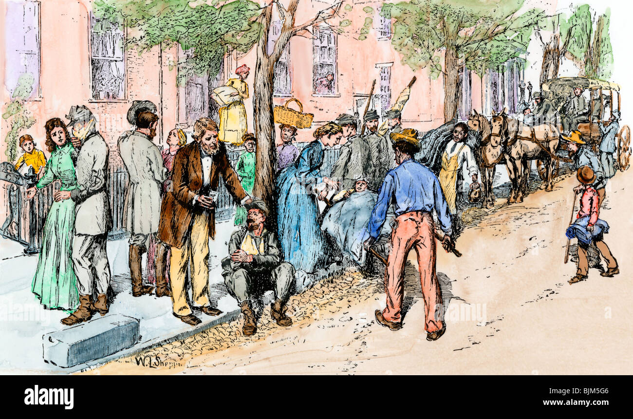 Wounded soldiers from the Battle of Seven Pines brought into Richmond, Virginia, 1862. Hand-colored woodcut - Stock Image