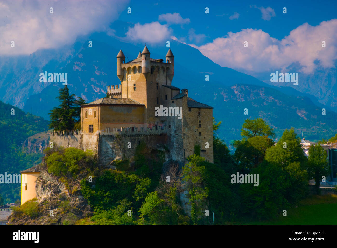 Castle in Val D' Aosta, Italian Alps, Italy, Saint Pierre Castle from 12th century, Mountains of the Mount Blanc, - Stock Image