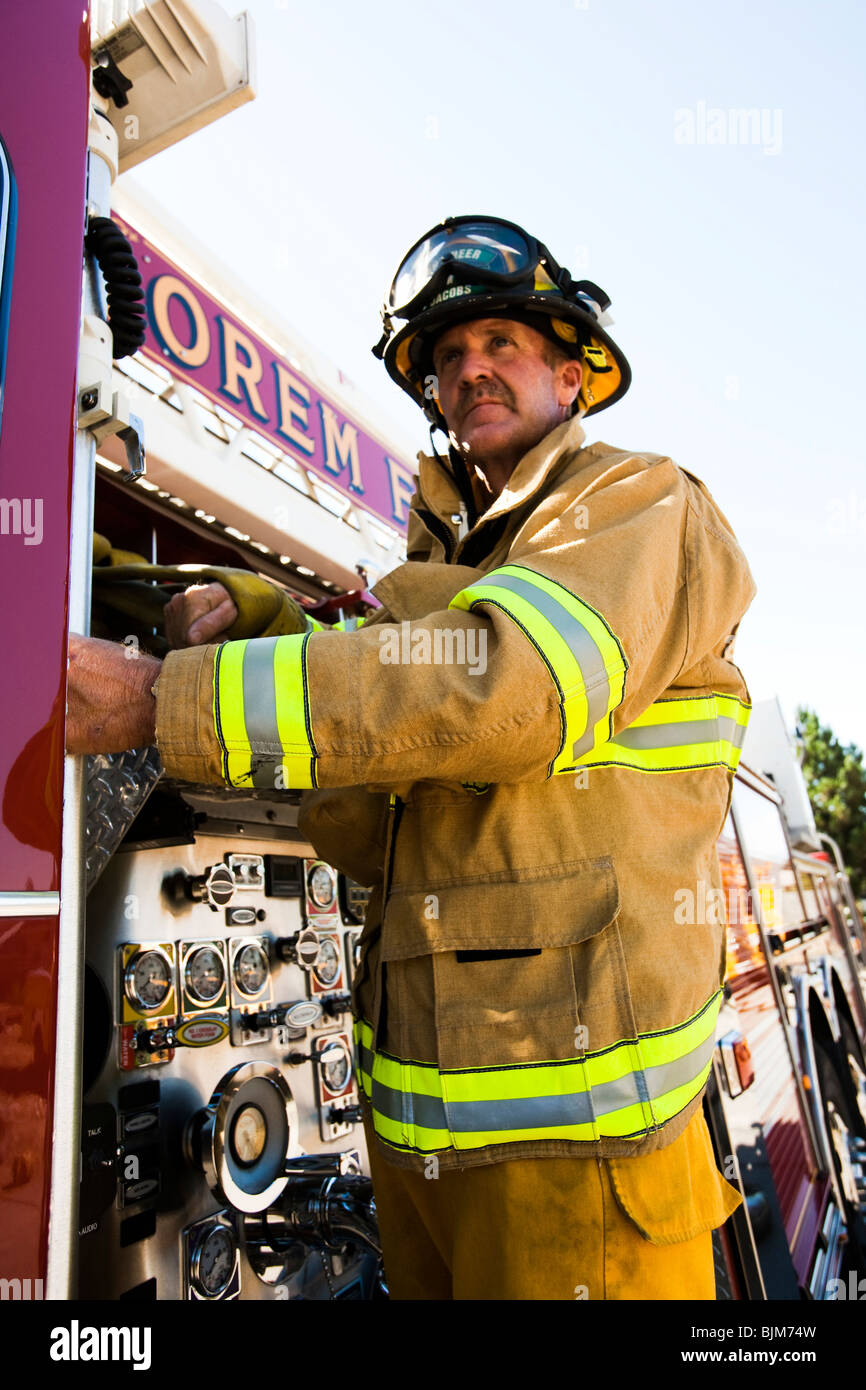 Motion Blur firefighter - Stock Image