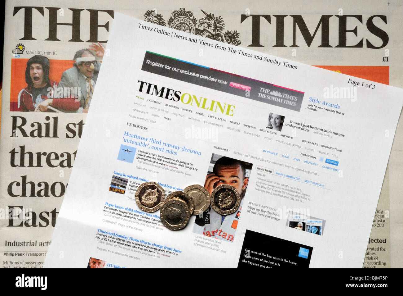 The Time Newspaper and On Line Times. - Stock Image