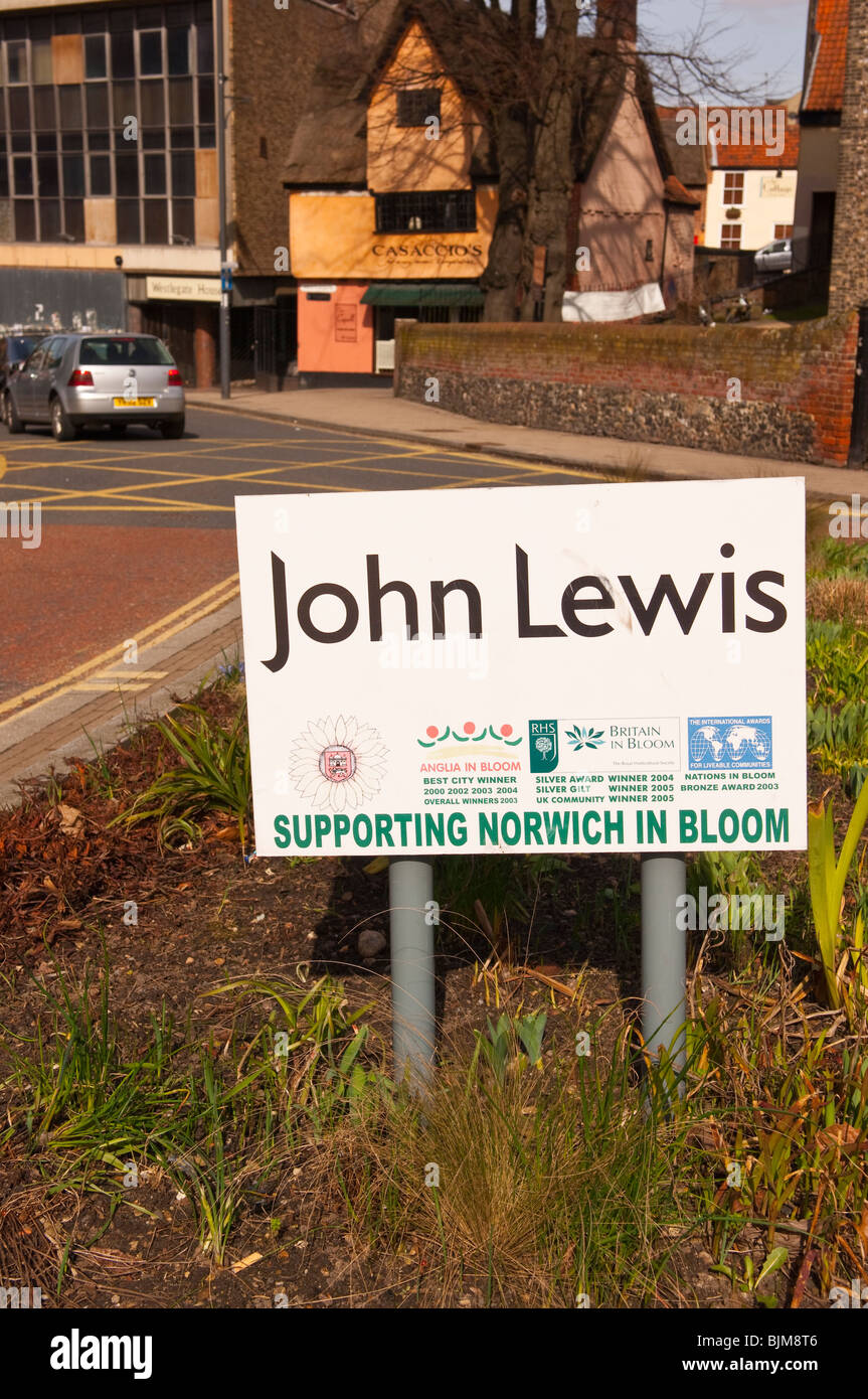 A sign stating John Lewis supports Norwich in bloom in Norwich , Norfolk , England , Britain , Uk - Stock Image