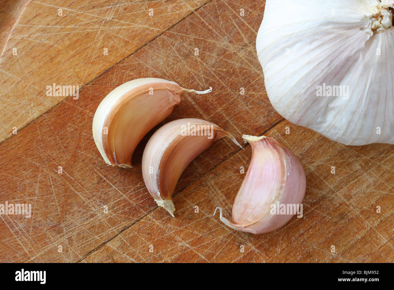 Garlic on cutting board - Stock Image