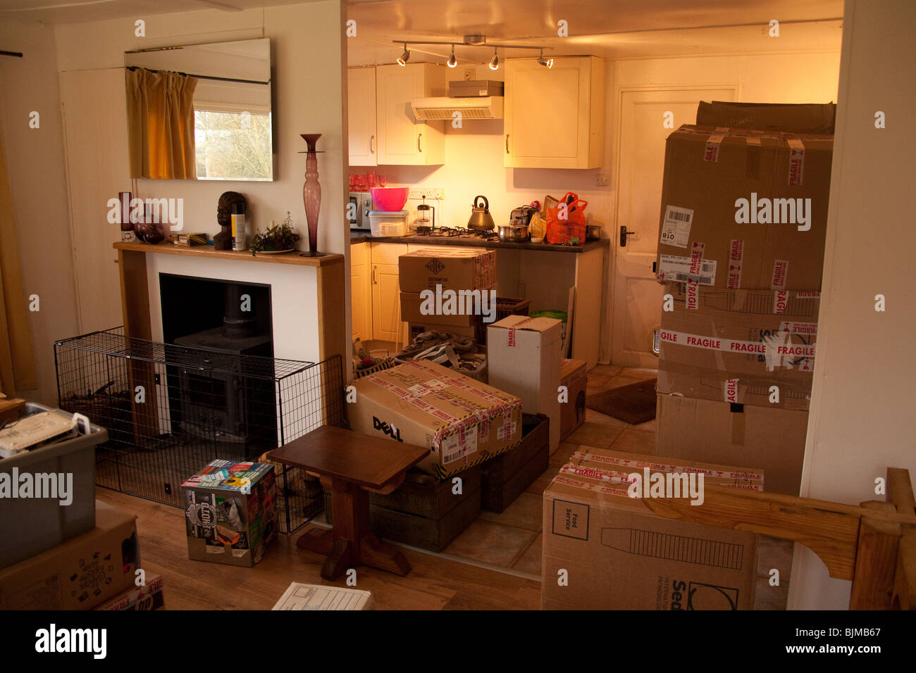 Chaos and mess of moving house, Hampshire, England. - Stock Image