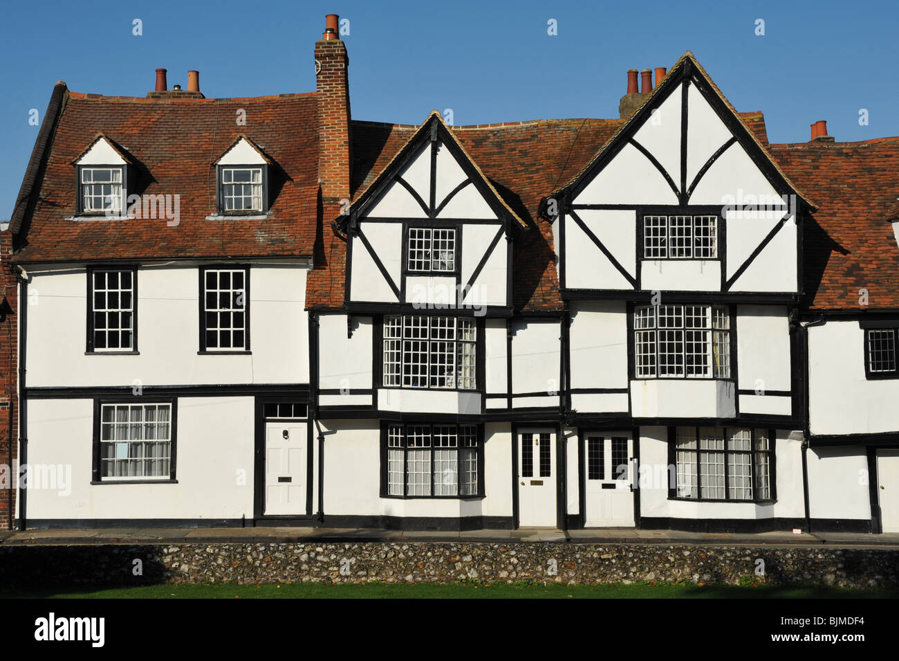 A row of terraced Tudor buildings in Canterbury, Kent, United Kingdom - Stock Image