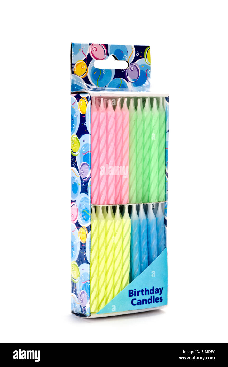 box of birthday cdandles - Stock Image