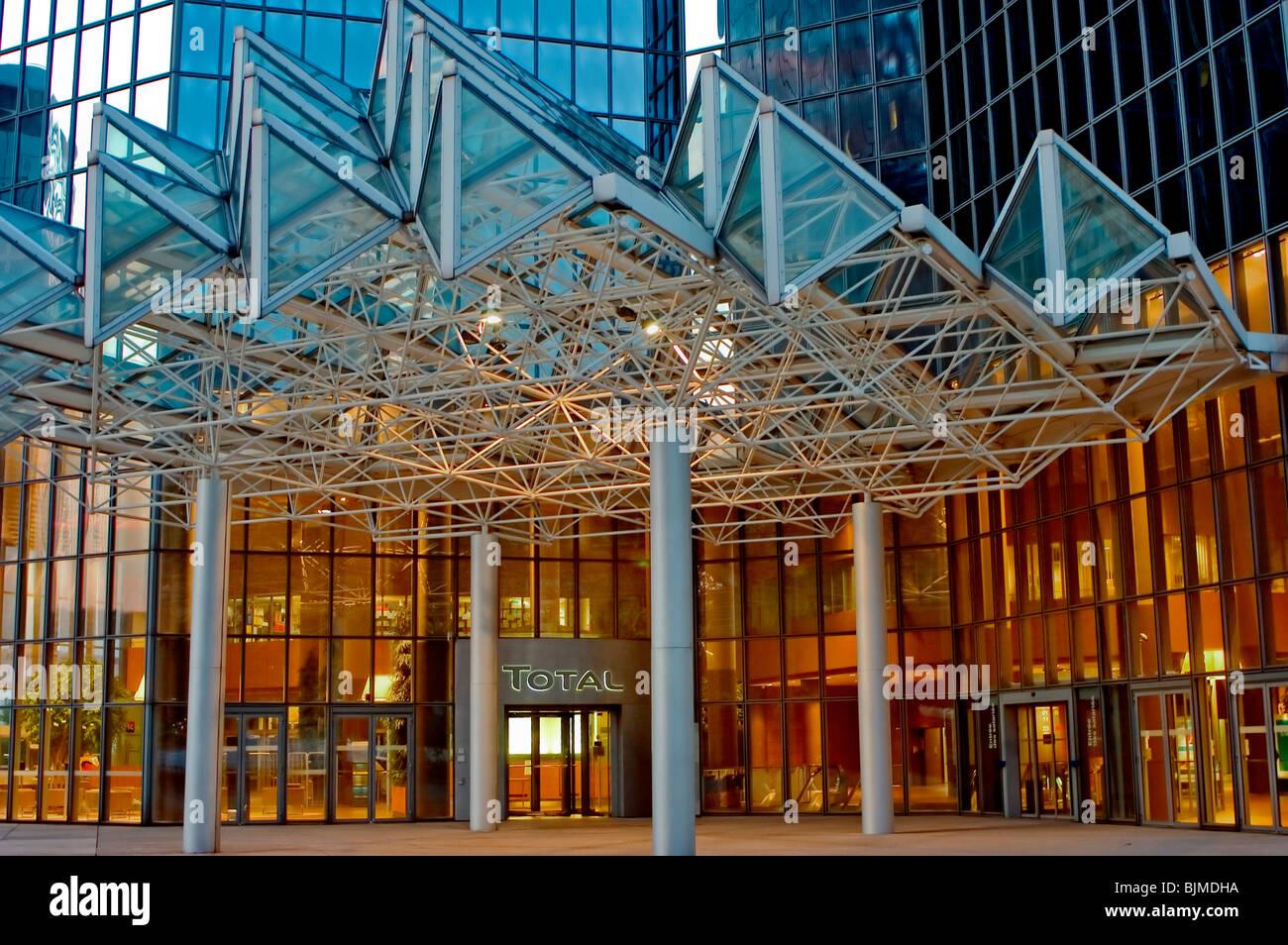 Paris, France, La Défense Business Center, Total Corporate Headquarters at Night. Detail, Entrance - Stock Image