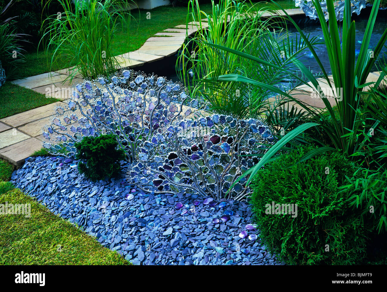 Decorative details from a Water Garden with glass creationsStock Photo