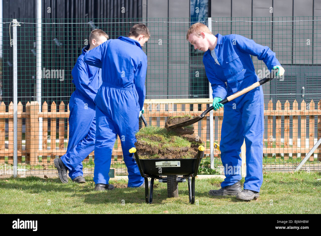 Students on a hard landscaping course Stock Photo