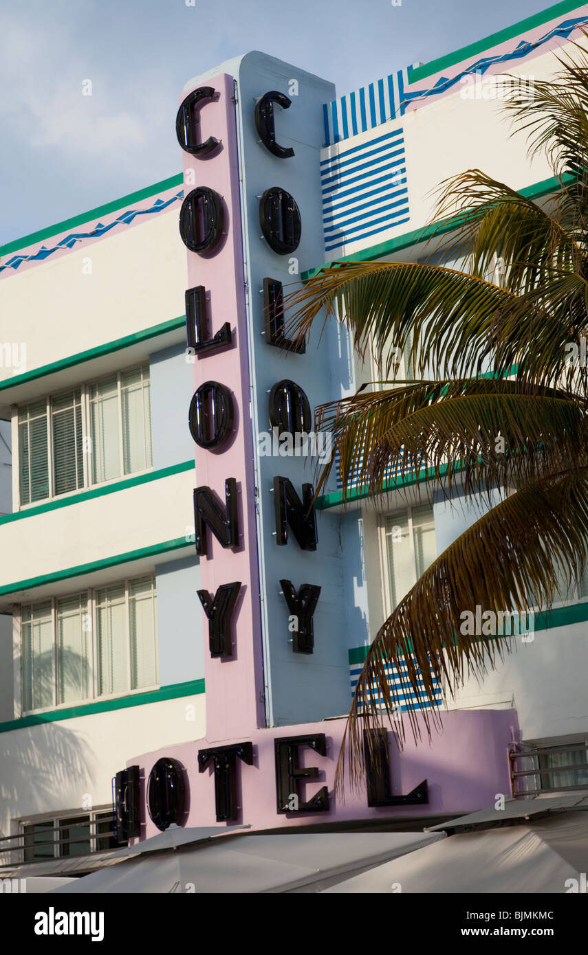 The Colony Hotel 736 Ocean Drive, Miami Beach, Florida, USA - Stock Image