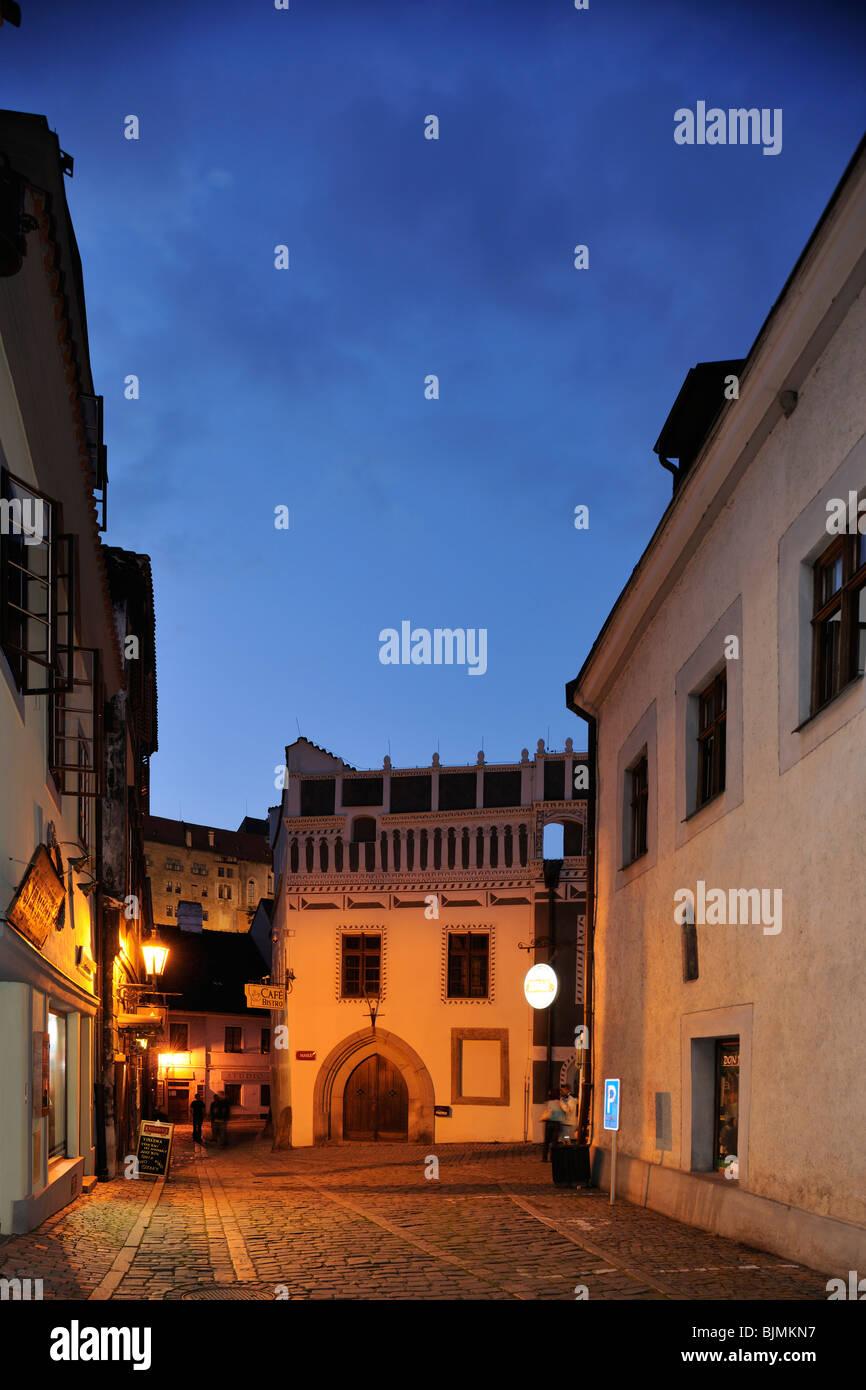 Historische Altstadt am Abend, UNESCO-Welterb, Cesky Krumlov oder Boehmisch Krumau, Tschechien, Europa - Stock Image