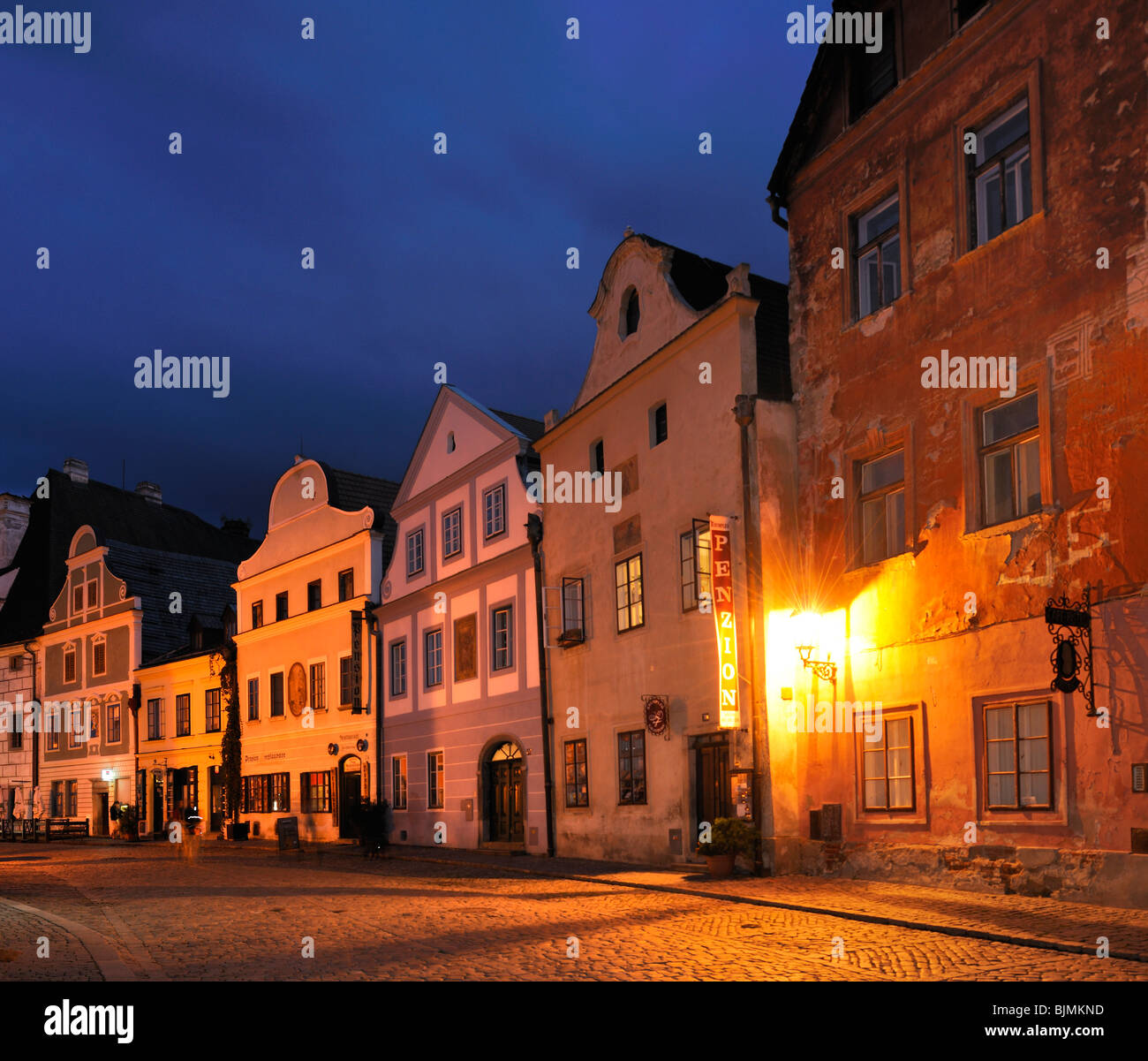 Historic old town in the evening, UNESCO World Heritage Site, Cesky Krumlov, Czech Republic, Europe Stock Photo