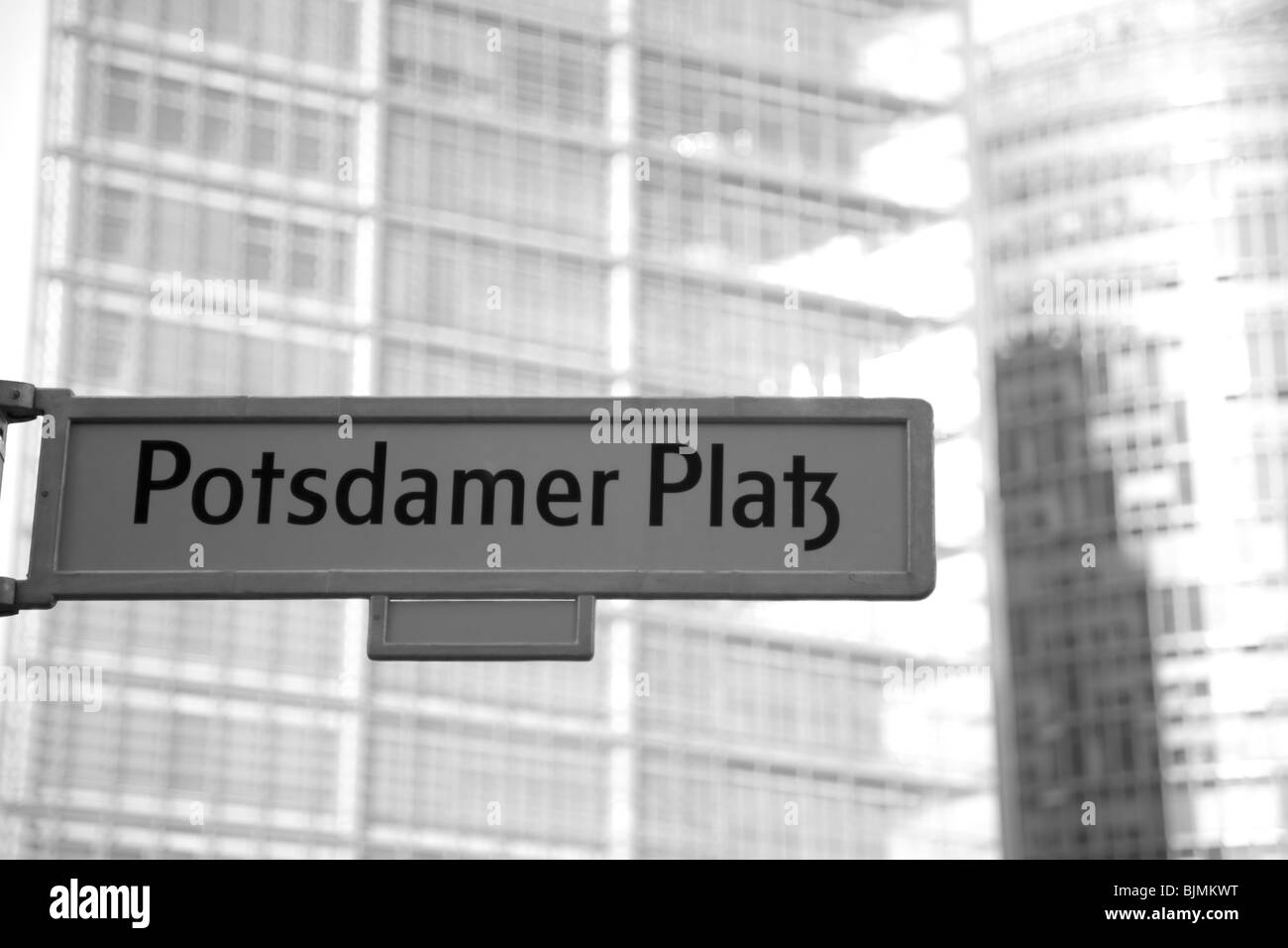 Sign 'Potsdamer Platz' square, black and white, Berlin, Germany, Europe - Stock Image