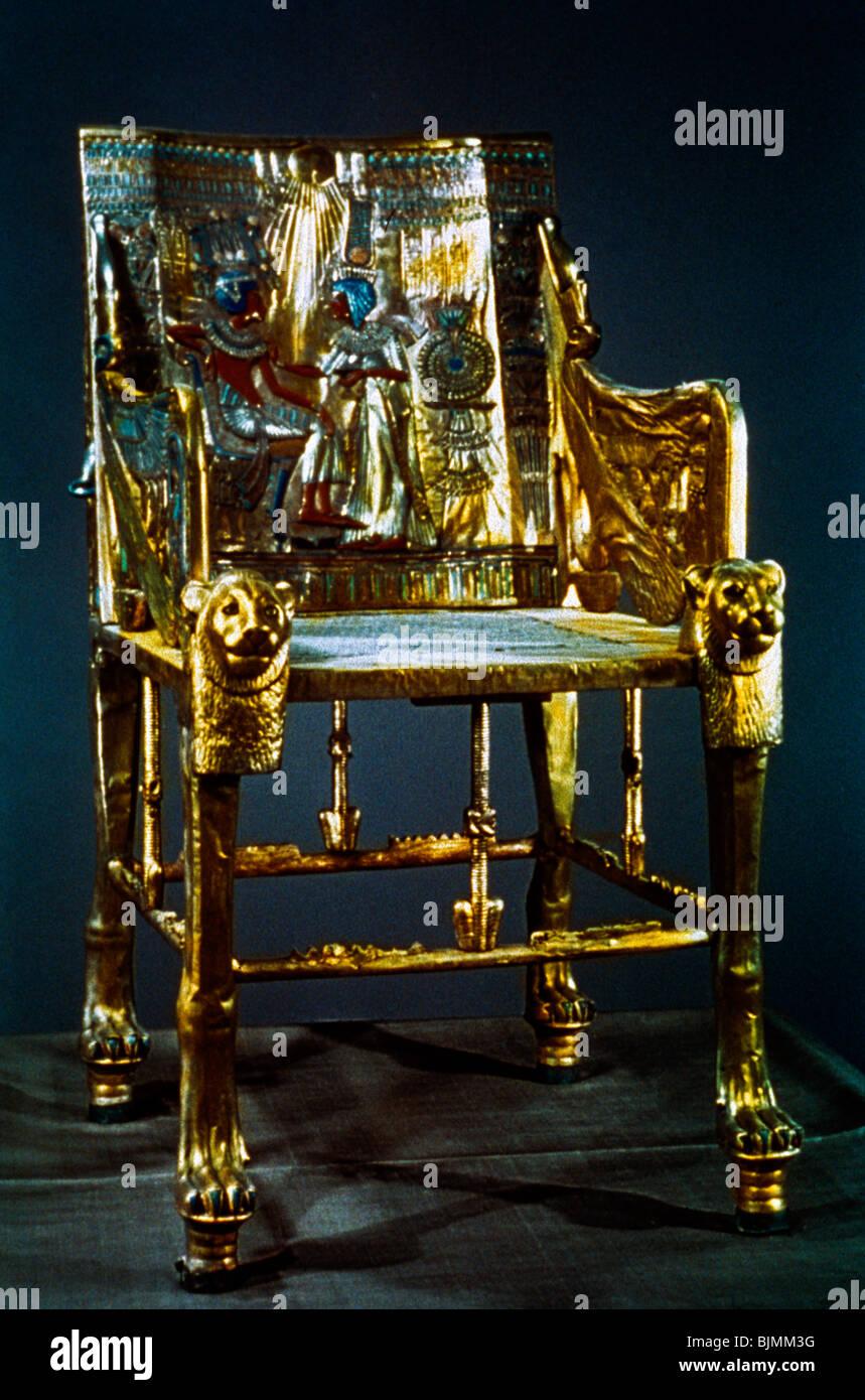 Tutankhamun Egypt Throne Of - Stock Image