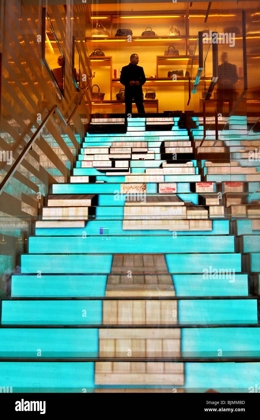Video effect on the steps in fashion store and jeweller's Louis Vuitton, Via dei Condotti, Rome, Lazio, Italy, - Stock Image
