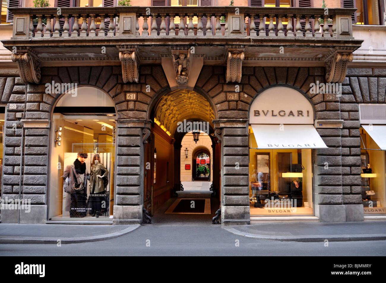 Burberry fashion store, jeweller Bulgari, Via dei Condotti, Rome, Lazio, Italy, Europe - Stock Image