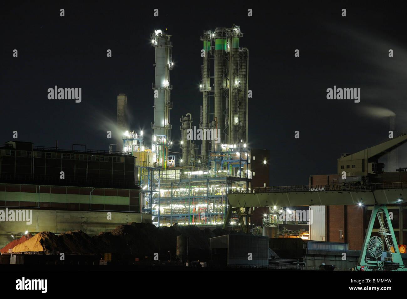 Bayer factory buildings and premises, night shot, Leverkusen, North Rhine-Westphalia, Germany, Europe - Stock Image