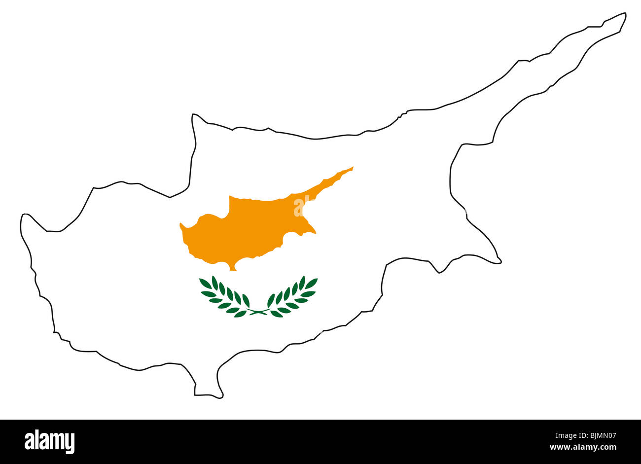 Republic of Cyprus, flag, outline - Stock Image