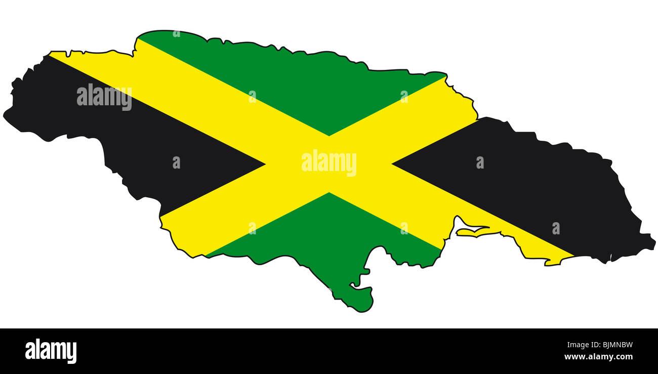Jamaica, flag, outline Stock Photo: 28730013 - Alamy