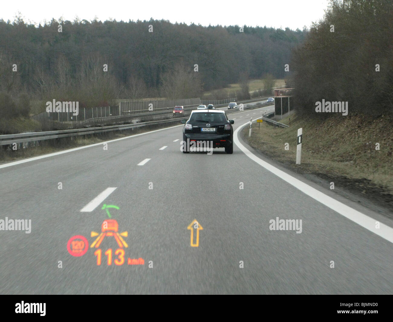 BMW 730d Sedan, F01 type code, with head-up display, HUD, navigation, driver assistance systems, such as distance - Stock Image