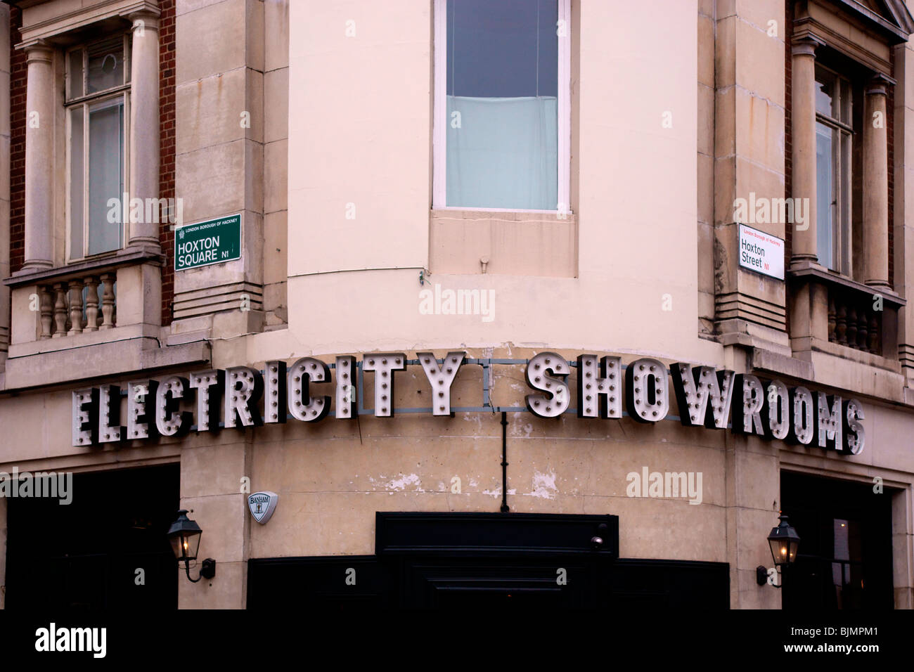 Old electricity showrooms sign - Stock Image
