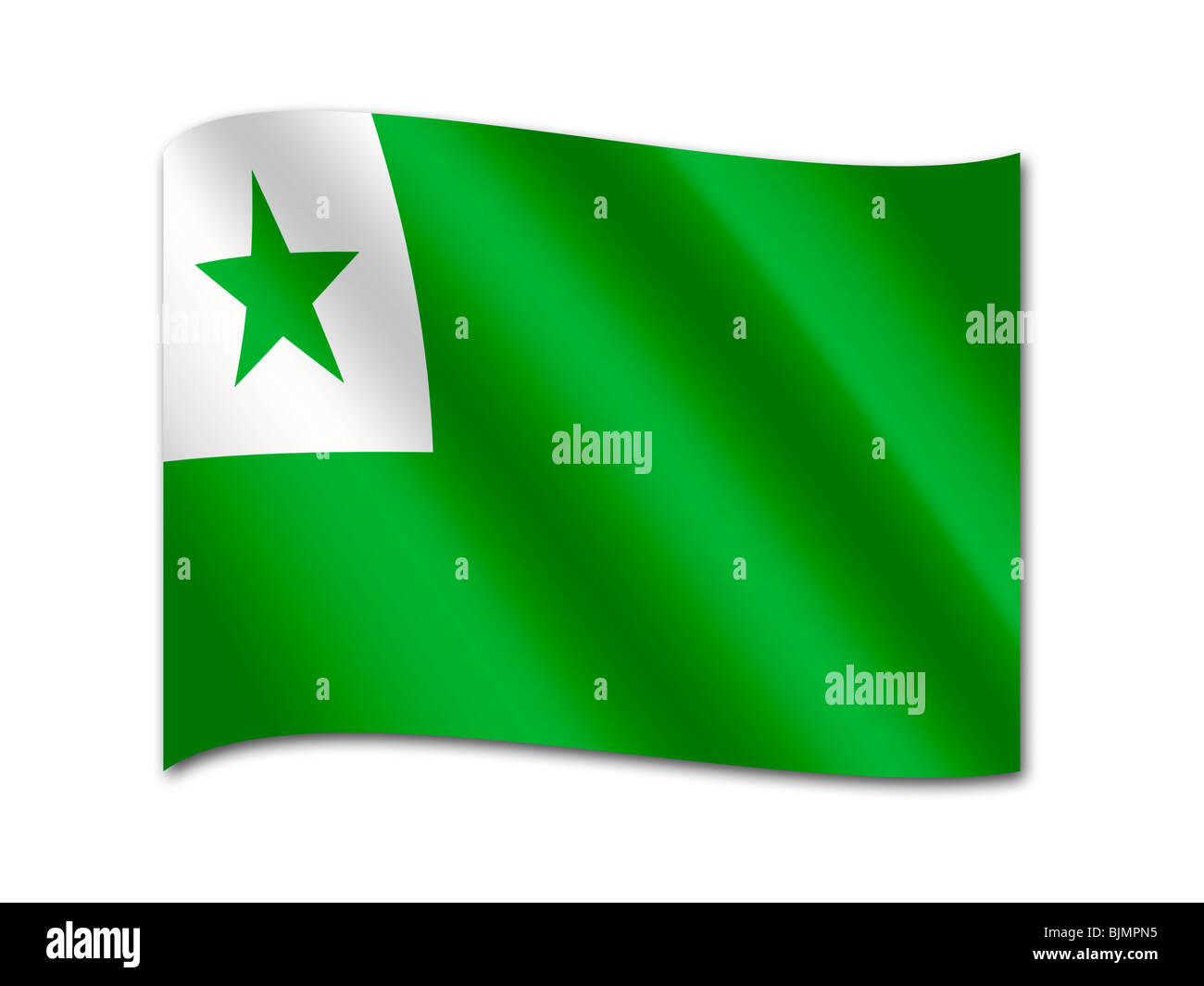 Flag of the Esperanto international auxiliary language - Stock Image