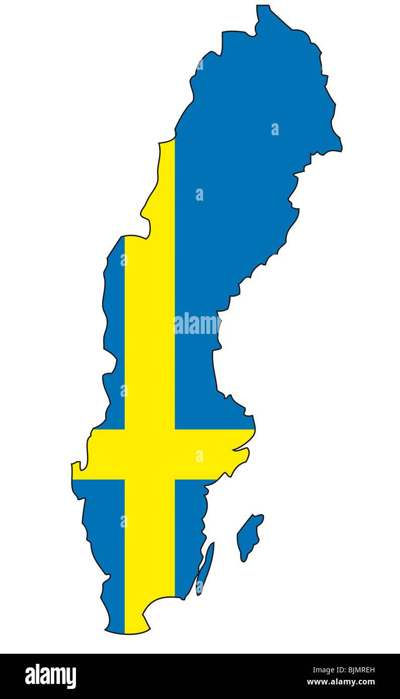 Sweden, flag, outline - Stock Image