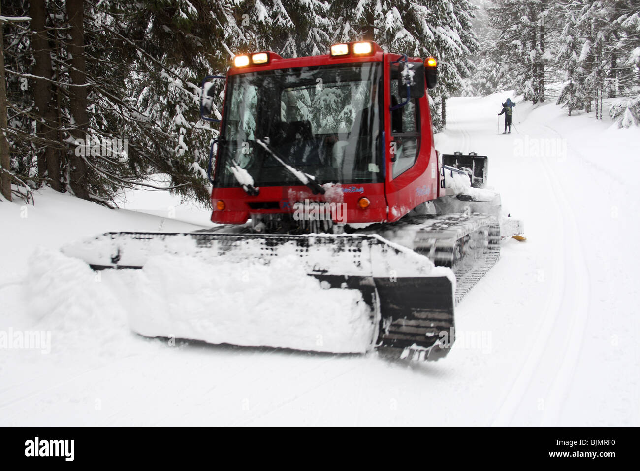 Preparing cross country ski track in Jakuszyce, Sudety Mountains, Poland. - Stock Image