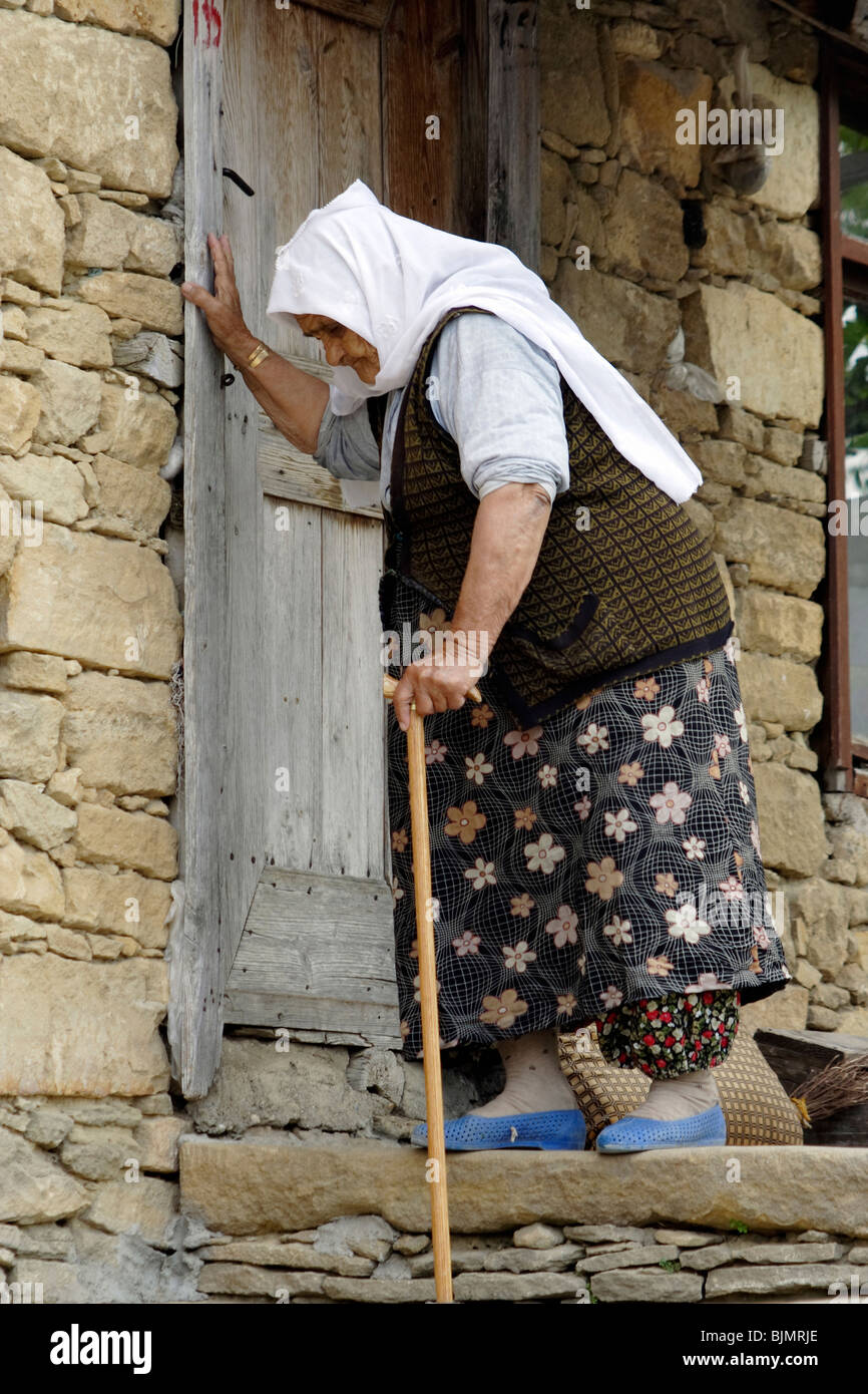 Old woman in a nomad village, Manavgat, Turkey Stock Photo