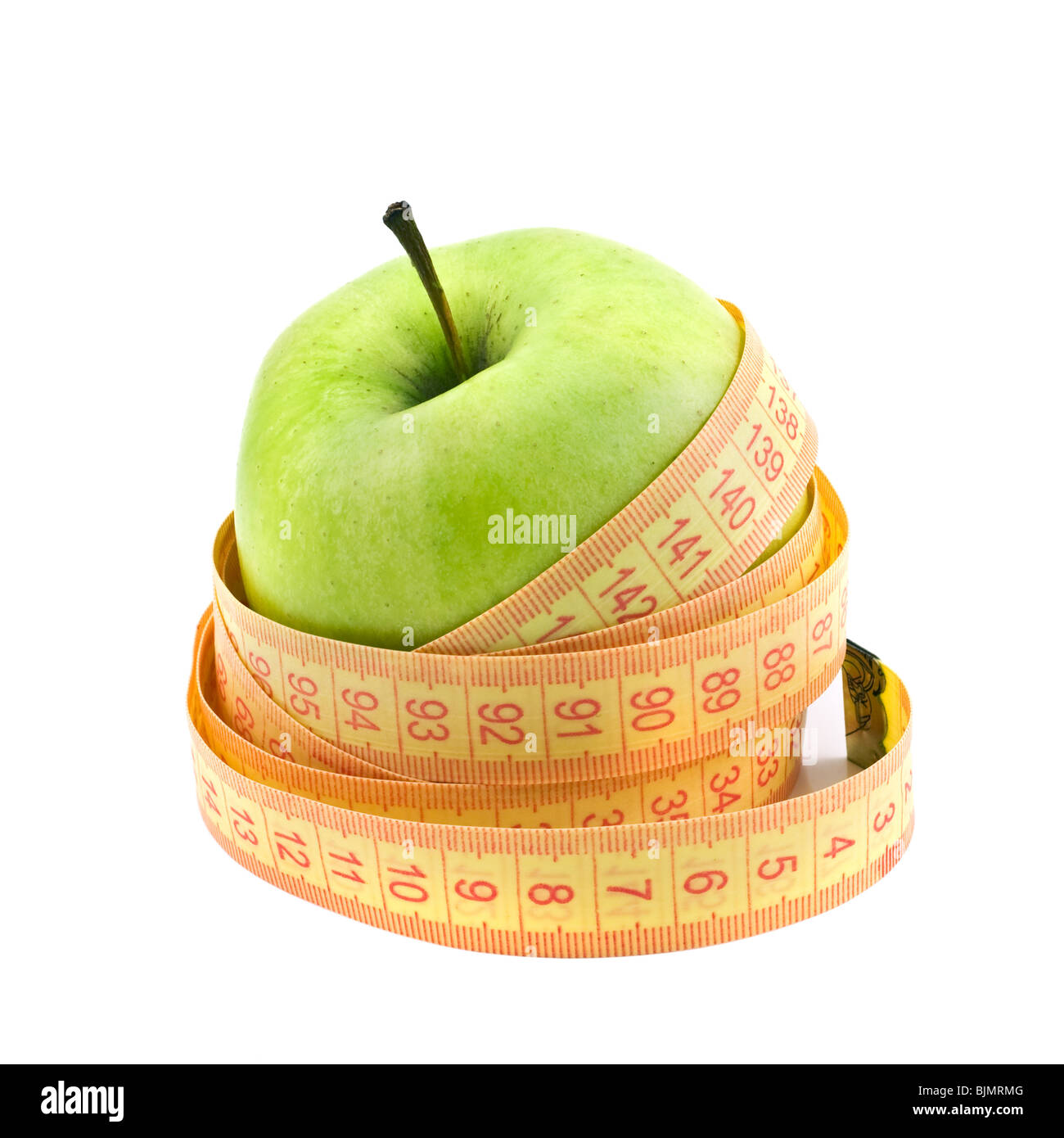 green apple and yellow meter - Stock Image
