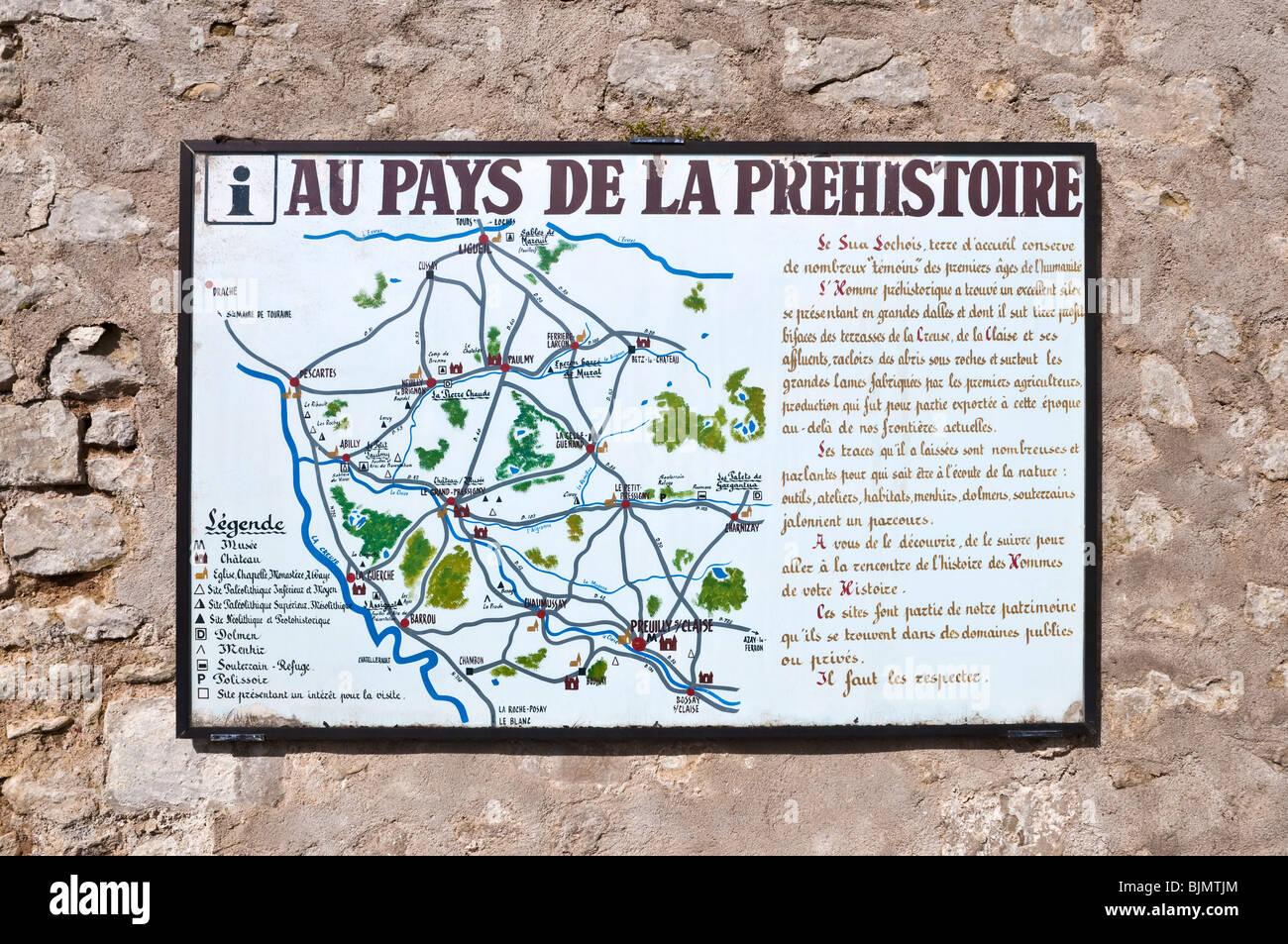 Au Pays De La Prehistoire map / Prehistoric Places to visit - France. - Stock Image