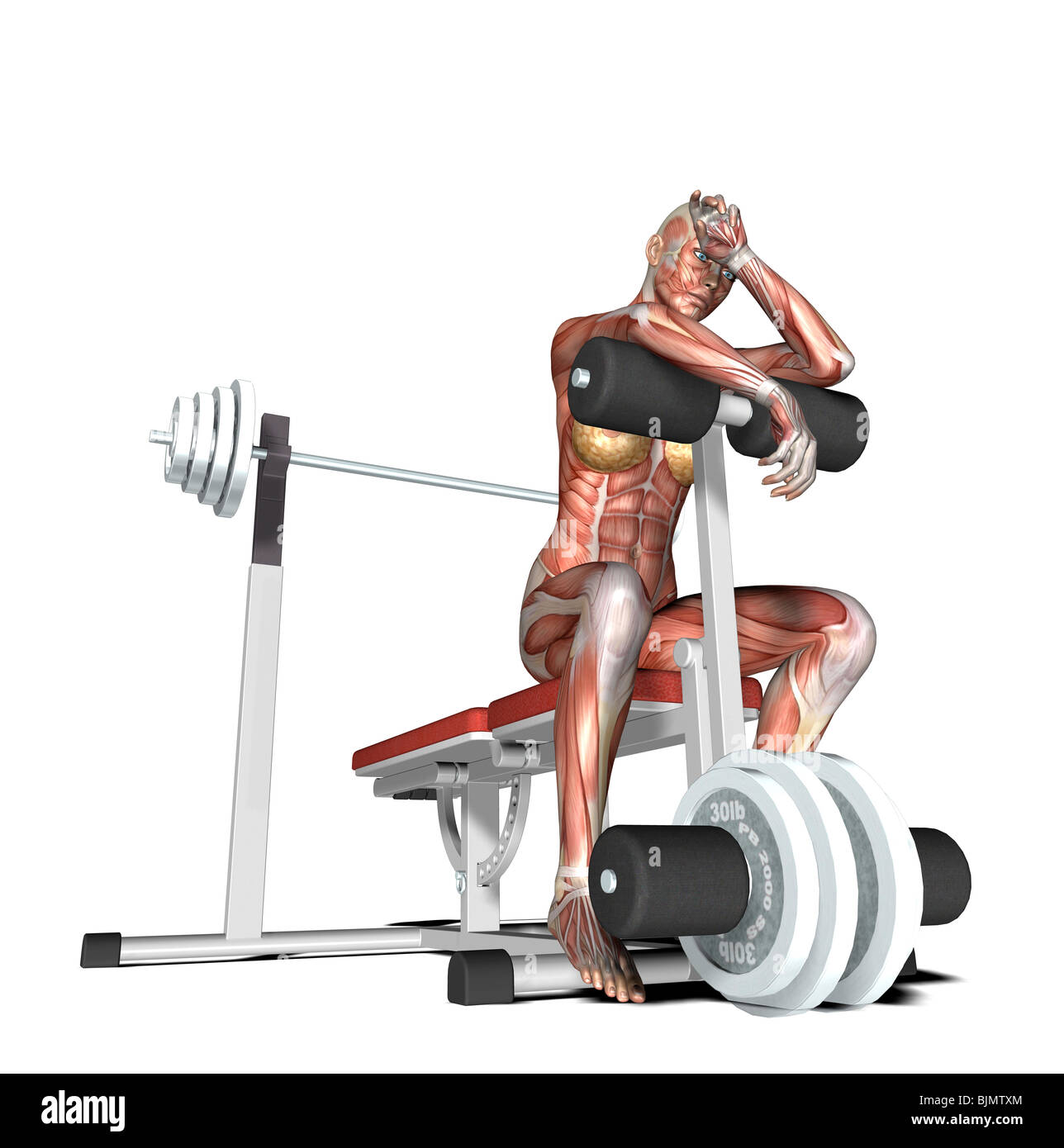 muscle woman tired out - Stock Image
