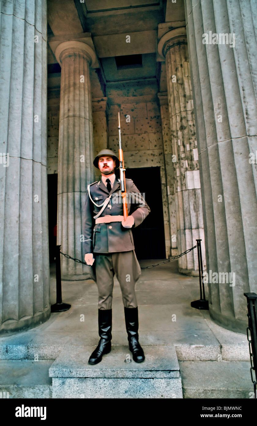 (Former East) Berlin, Germany - East German Soldier Guarding old III Reich Building, tomb of the Unknown Soldier, Stock Photo