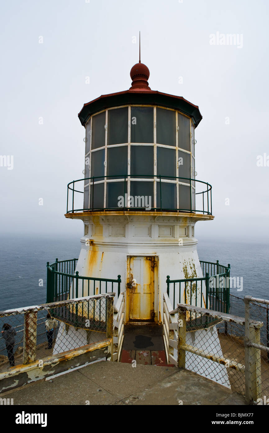 The historic lighthouse at the Point Reyes National Seashore. - Stock Image