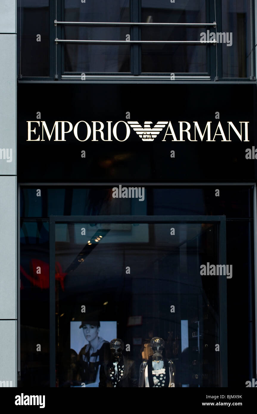 Emporio Armani clothing fashion store sign in Berlin city Germany Europe - Stock Image