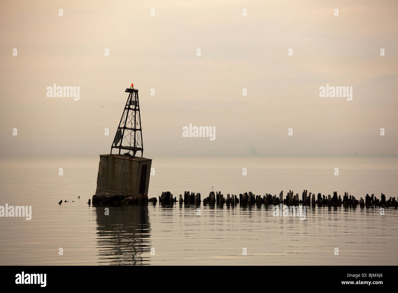 Dime Pier and navigation beacon. Chicago Illinois. - Stock Image