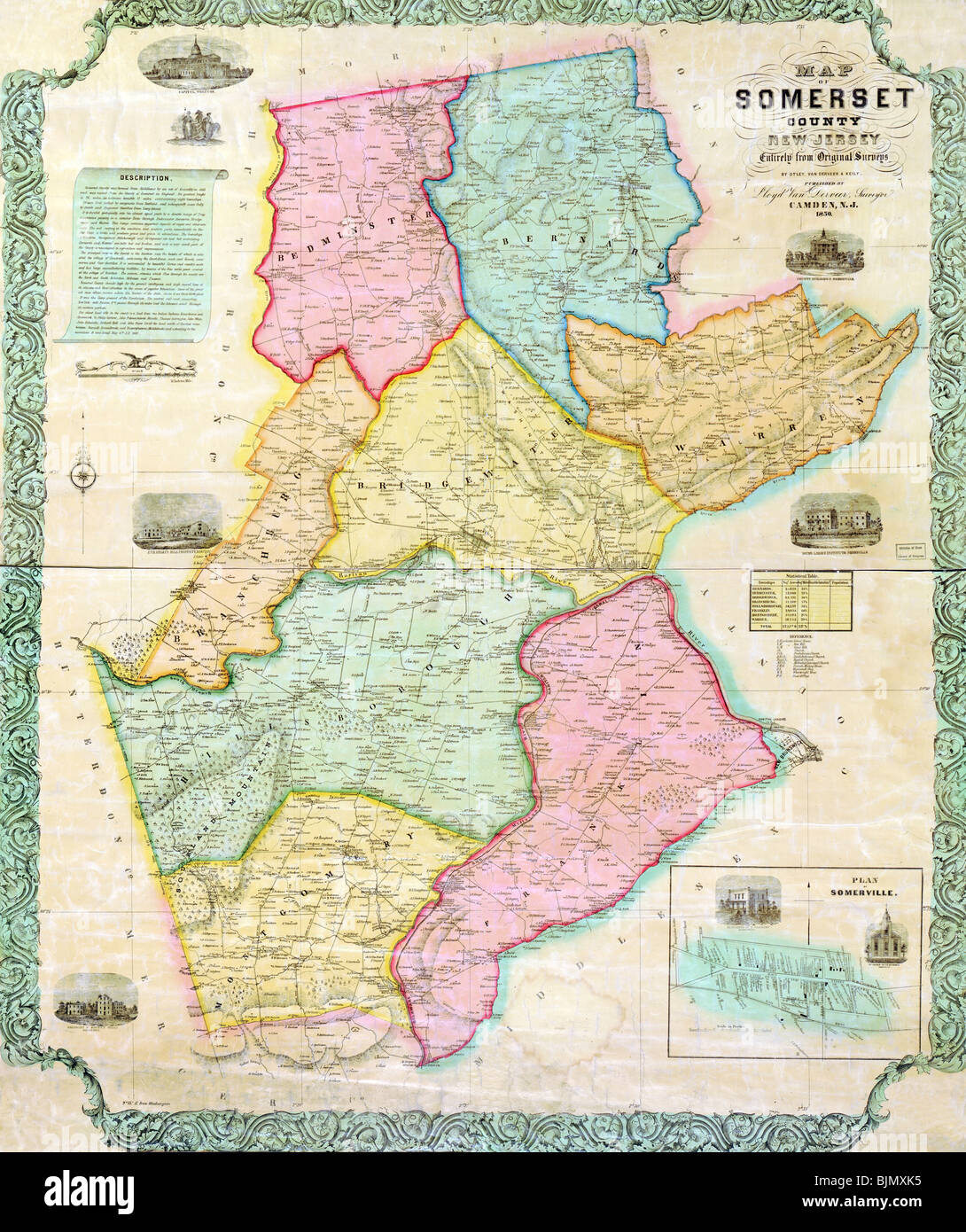 1850 Map of Somerset County New Jersey USA Stock Photo 28734137