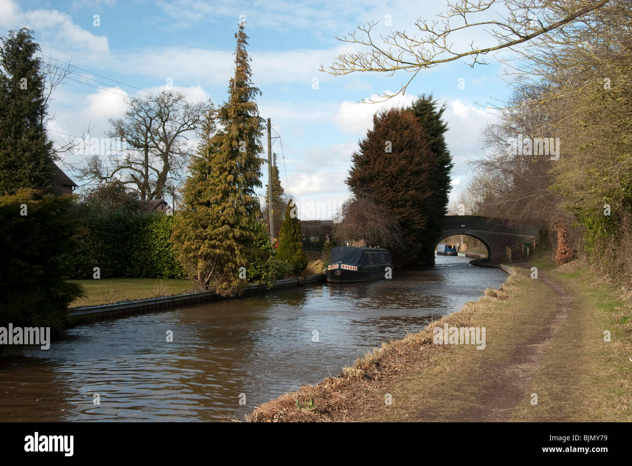 The Llangollen canal near Nantwich in early Spring - Stock Image