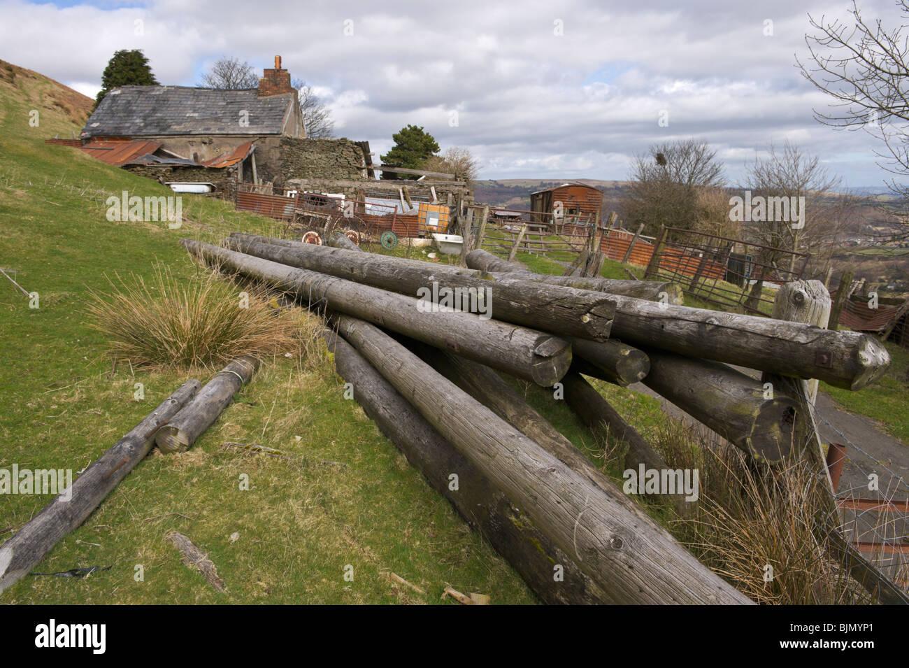 Derelict farmhouse on farmstead on mountainside above Pontypool Torfaen South Wales UK - Stock Image