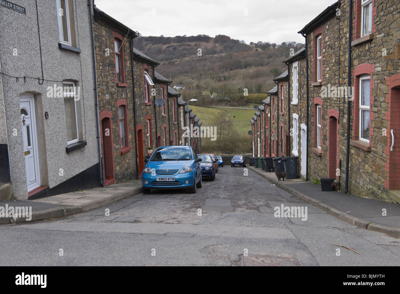 Victorian industrial workers housing at the steeply sloping Buller Street Cwmffrwdoer near Pontypool Torfaen South - Stock Image