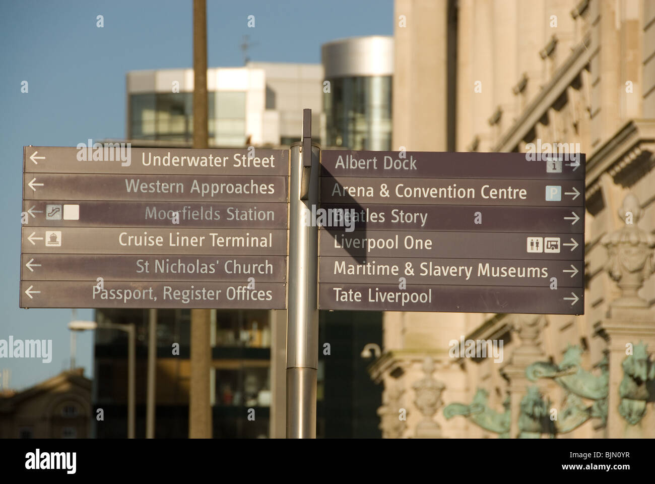 Sign post in Liverpool pointing to various attractions - Stock Image