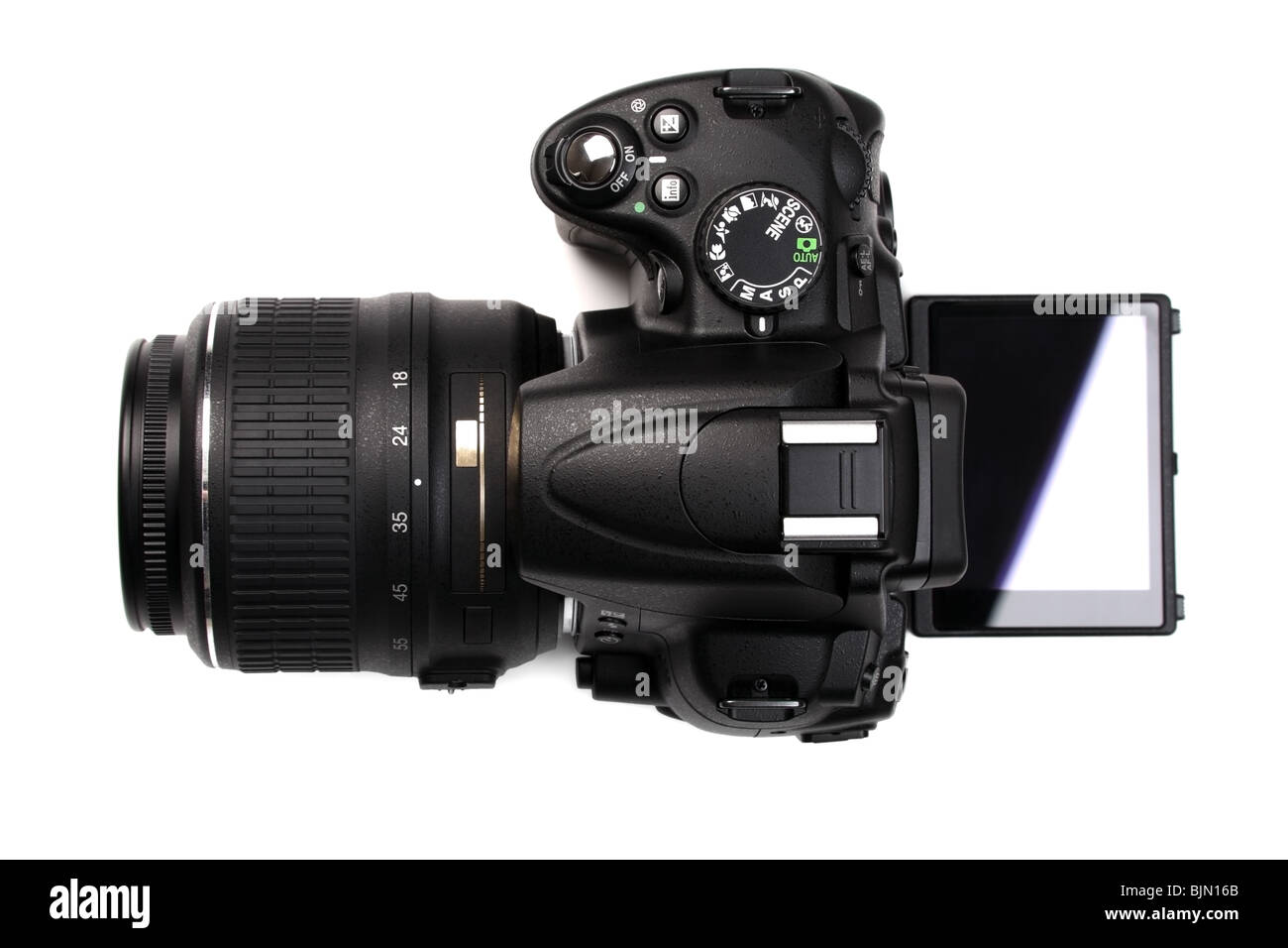 Modern DSLR camera with open vari-angle monitor. Top view. Isolated on white background. - Stock Image
